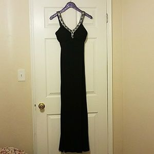 Black Formal Evening Dress with Beautiful Beading